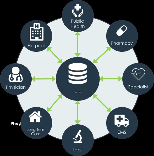 HIE acts as the hub between all of the different components and allow us to send and receive standardized data.